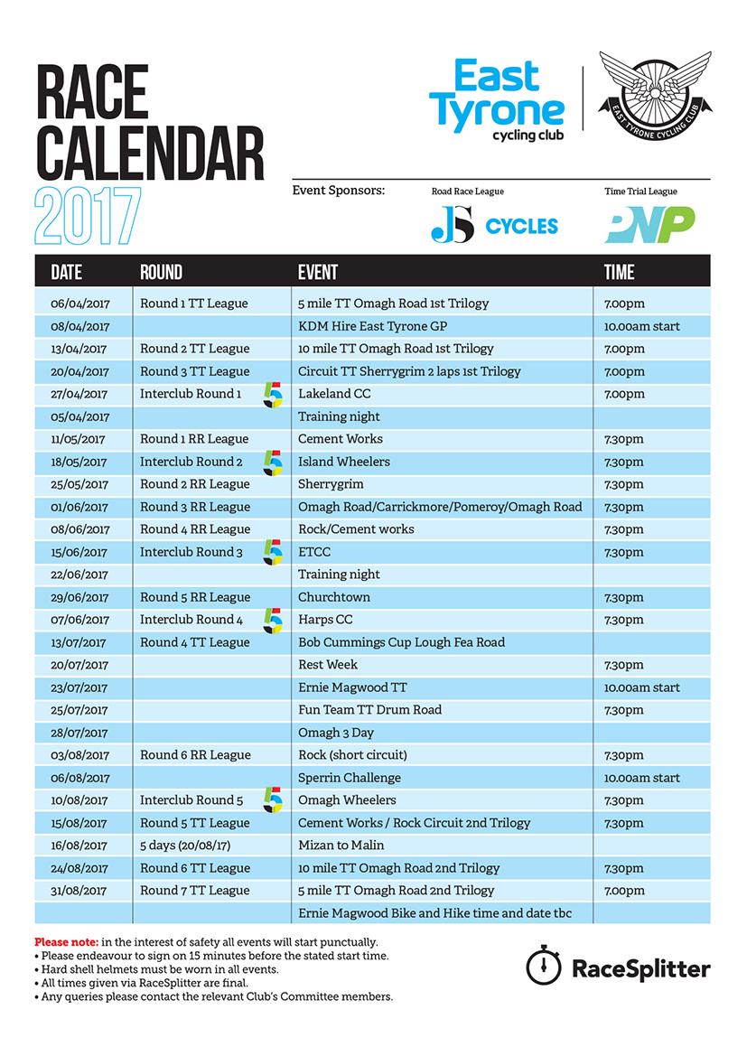 Race Calendar.2017 Race Calendar East Tyrone Cycling Club